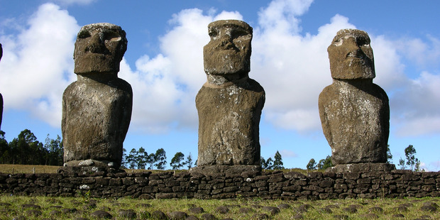 Easter Island statues (moai) at Ahu Akivi, Easter Island. Photo / Supplied