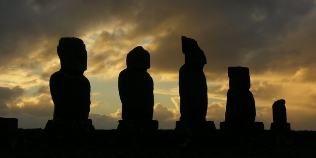 Easter Island statues (moai) at sunset at Tahai. Photo / Supplied