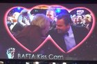 Dame Maggie Smith and Leonardo DiCaprio lean in for a kiss on the Bafta Kiss Cam. Photo / Twitter