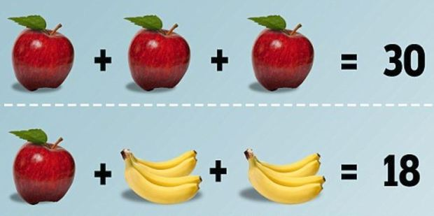 The puzzle invites you to decipher which number each fruit represents and then work out the total.