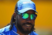 "Chris Gayle has mocked the reaction to his controversial Big Bash League interview with sports reporter Mel McLaughlin by repeating his infamous ""don't blush"" line. Photo / Getty."