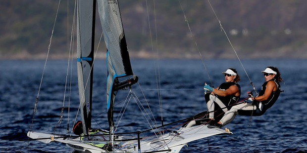 Alexandra Maloney and Molly Meech of New Zealand sail in the women's 49er FX class. Photo / Getty Images