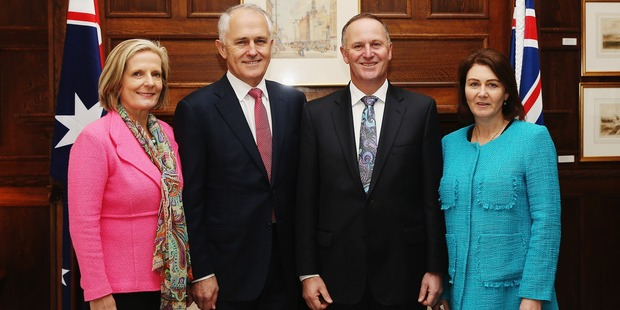 Lucy and Malcolm Turnbull with John Key and his wife Bronagh. Photo / Getty