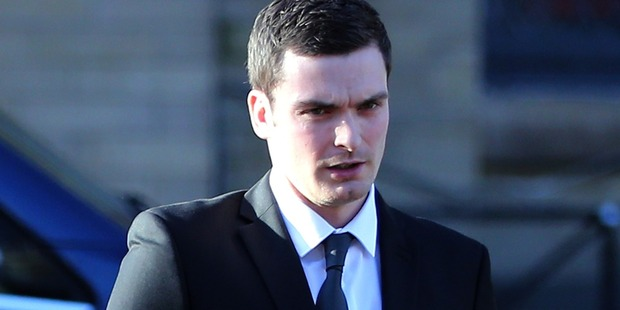 Former Sunderland midfielder Adam Johnson arrives at the Crown Court on February 10, in Bradford, England. Photo/Getty