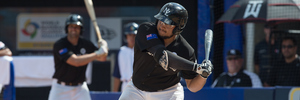 Boss Moanaroa #8 of team New Zealand bats during Game 3 of the World Baseball Classic. Photo / Getty Images