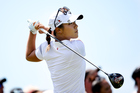Lydia Ko tees off during the third round of the New Zealand Women's Open. Photo / Getty