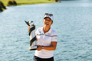Lydia Ko of New Zealand poses with the New Zealand Women's Open trophy. Photo / Getty Images