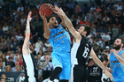 Corey Webster drives to the basket during the Breakers' semifinal opener against Melbourne. Photo / Getty