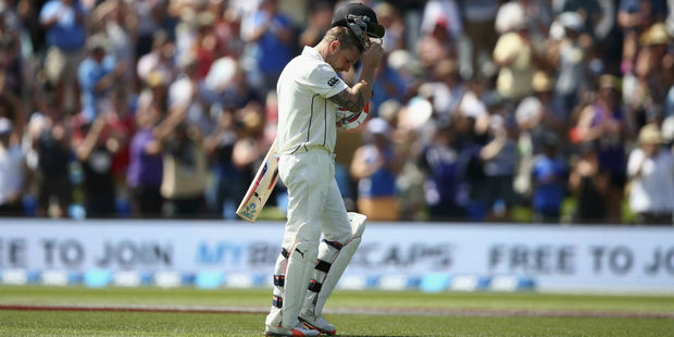 Brendon McCullum departs Hagley Oval to a standing ovation. Photo / Getty