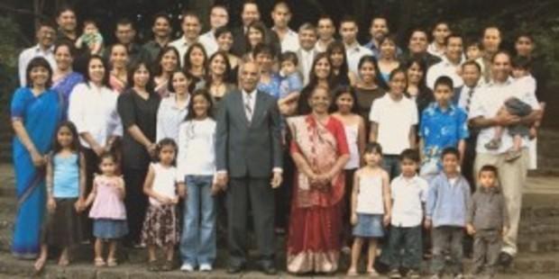 Jeram and Ganga Ravji's extended family includes six children, 15 grandchildren and 25 great-grandchildren all living in Auckland. Photo / Family First