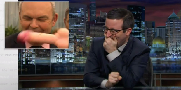 Loading The Steven Joyce incident at Waitangi where he was hit by a dildo has caught the attention of Last Week Tonight host John Oliver, who has featured it on the latest episode. Photo / Supplied