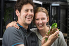 Don McFarlane and Ellie Stringer with a weta at Auckland Zoo. Photo / Jason Oxenham