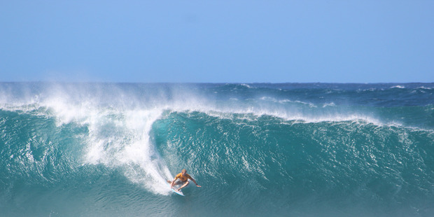 Mick Fanning at the Pipeline Masters in Hawaii. Photo / Grant Bradley