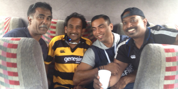 Campers John Narayan, Ravin Chander, Sunil Deo and Sailesh Narayan. Photo / Supplied