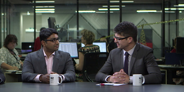 Liam Dann (right) chats with economist Shamubeel Eaqub. Photo / NZME