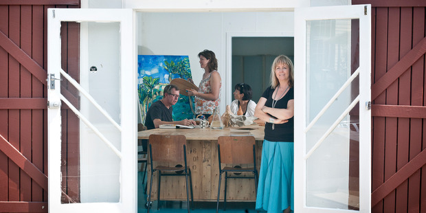 Incubator director Simone Anderson and (back left) Nick Eggleston, Stella Clark and Angela Croft in the refitted Historic Village building where classes will be held. Photo / Andrew Warner