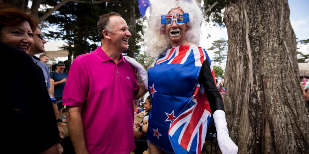 Loading Prime Minister John Key with Daphne Bush during the Big Gay Out held at Coyle Park, Pt Chevalier. Photo / Dean Purcell