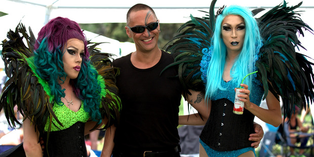 Rhea Rangend, Allan Heta Cleaver and Miss Pinkk enjoy the Big Gay Out. Photo / Dean Purcell