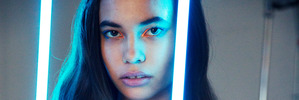 Hand-operated sensors let models light up Chromat's electro-luminescent dresses at New York Fashion Week. Photo / Supplied