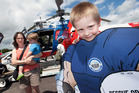 Tina Rakoczy with Joshua Rakoczy, 2, and Daniel Rakoczy, 5, at the annual BayTrust Rescue Helicopter open day. Photo / Ben Fraser