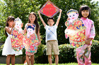 Hayley Butt, 5, Katelyn Watson, 6, Peter Ma, 8, and Victoria Watson, 8, will all be at the Chinese New Year celebrations in Tauranga next weekend. Photo / George Novak