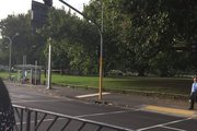 Photo posted to Twitter by Tyler de Vries, showing a crime scene at Victoria Park this morning. Photo / Twitter