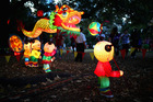 People view the Chinese lanterns while they were on display in Albert Park. Photo / Getty Images