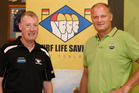 Paul Dalton chief executive of Surf Life Saving with Simon Limmer chief operating officer of Zespri.  Photo/George Novak