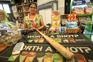 Greerton Liquor owner Karamjid Kaur, when confronted by a man with a knife demanding cigarettes, produced a baseball bat from behind the counter.