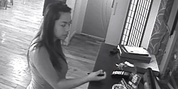 Loading A tip jar from a local restaurant was allegedly stolen by the woman pictured. Police are asking for the public's help to find her. PHOTO/SUPPLIED