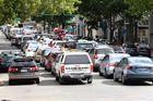 Traffic congestion on Auckland's Hobson Street this afternoon after a 24 hour NZ Bus strike was announced. Photo / Doug Sherring