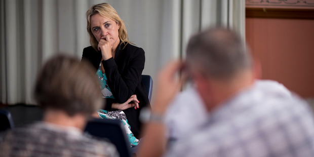 National MP Nikki Kaye holds a meeting at the Ley's Institute in relation to the reform of rules for city apartments. Photo / Dean Purcell