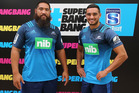Blues Charlie Faumuina and Bryn Hall during the 2016 New Zealand Super Rugby Launch. Photo / Getty Images