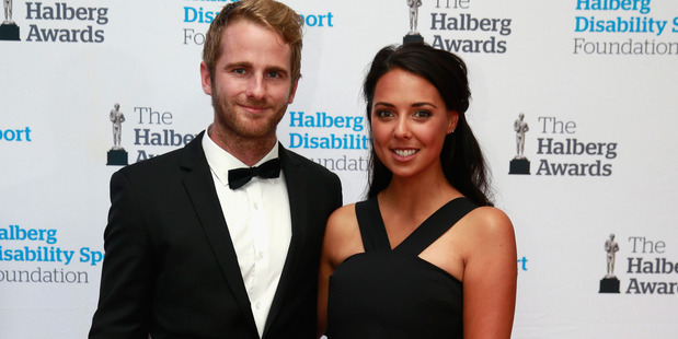Kane Williamson of the Black Caps poses with his partner before the 2016 Halberg Awards. Photo / Getty Images