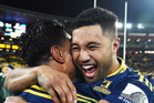 Lima Sopoaga hugs Malakai Fekitoa during the Super Rugby Final between the Hurricanes and Highlanders. Photo / Photosport.