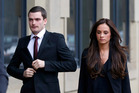 Former Sunderland and England soccer player Adam Johnson, 28, arrives with partner Stacey Flounders at Bradford Crown Court, in Bradford, England. Photo / AP.