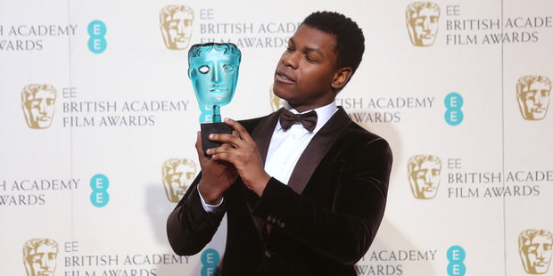Rising Star winner John Boyega at the BAFTA 2016 film awards. Photo / AP