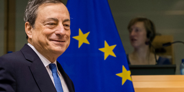 President of the European Central Bank Mario Draghi. Strategists are optimistic about the outlook for European stocks, with a Bloomberg survey predicting a 23pc increase from Friday's Stoxx 600 close through the end of the year. Photo / AP
