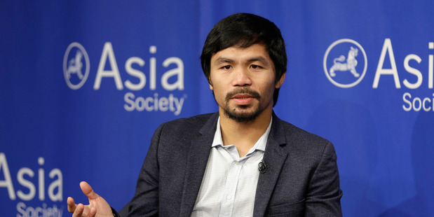 In this Oct. 12, 2015, file photo, Manny Pacquiao takes questions at the Asia Society in New York. Photo / AP.