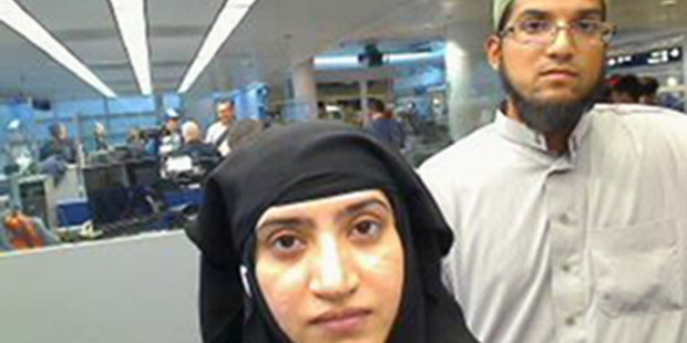 On July 27, 2014, the U.S. Customs and Border Protection provided this photo showing Tashfeen Malik, left, and Syed Farook. Photo / AP
