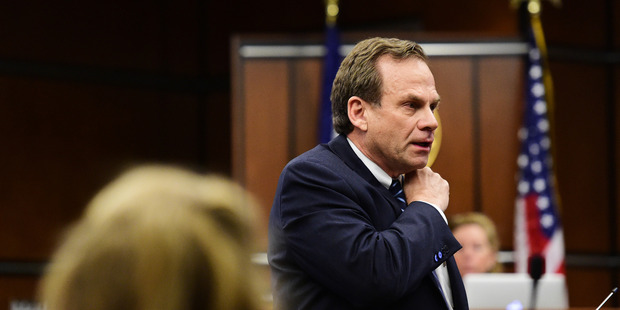 District Attorney Stan Garnett talks during opening statements. Photo / AP