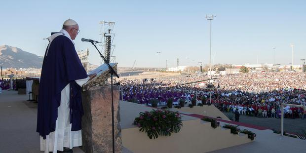 Pope Francis speaks during a mass he celebrated in Ciudad Juarez, Mexico. Photo / AP