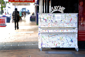 Decorated footpath piano on Willow St, part of 'love note' public art around the city. Photo/file