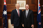 Australian Prime Minister Malcolm Turnbull and New Zealand Prime Minister John Key at Government House. Photo / Getty Images