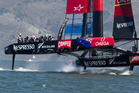 Emirates Team New Zealand in action against Oracle. Photo / Brett Phipps