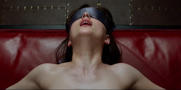 Anastasia Steele played by Dakota Johnson in the film adaptation of the novel Fifty Shades of Grey.