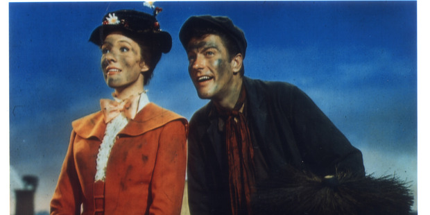 Julie Andrews and Dick Van Dyke in scene from the original Mary Poppins.