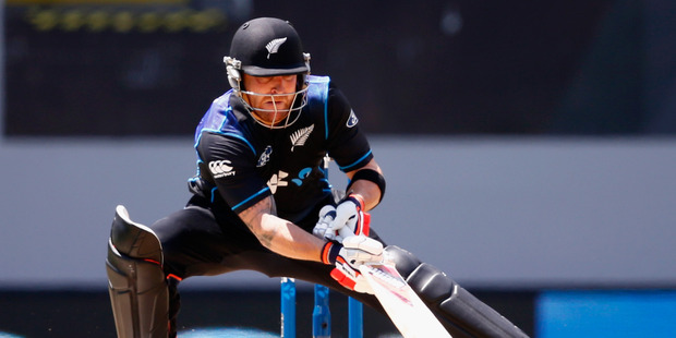 Brendon McCullum ramping the ball was a trademark shot of his in the T20 format, most notably against Shaun Tait, where he scooped 150km/h deliveries over the wicketkeeper. Photo / Getty Images