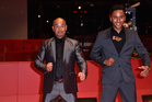 Temuera Morrison and co-star Akuhata Keefe perform a haka on the red carpet for the world premiere of Mahana at the Berlin Film Festival (Getty).