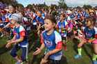 Poppy Macklow from Waipukurau warms up before the event with other Weet Bix Tryathlon participants. PHOTO/Duncan Brown.